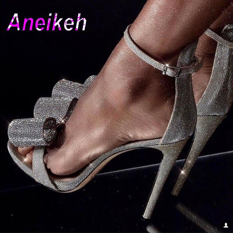 Aneikeh/2019 г. летние босоножки со стразами серебристые женские модные босоножки на высоком каблуке с пряжкой на лодыжке обувь для вечеринок