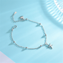 Ailodo 925 Sterling Silver Bracelets For Women Fashion Sea Shell Starfish Beads Bracelet Summer Jewelry Femme Bijoux Gift LD163