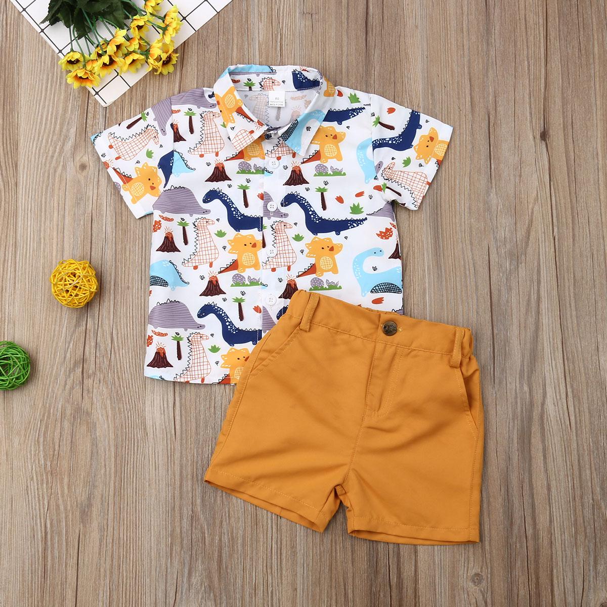 Pudcoco Summer Toddler Baby Boy Clothes Cute Dinosaur Print Shirt Tops Short Pants 2Pcs Outfits Sunsuit Summer Clothes