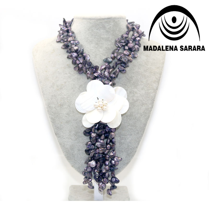 Hot Sale European American Festival Black Freshwater Pearl Necklace Shell Flower Necklace Colorful Multi rows Personality