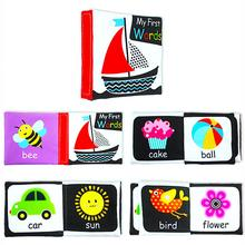 4pcs/set Soft Black White Baby Cloth Book Newborn My First Reading Toys Infant Early Education English 0-12 Month