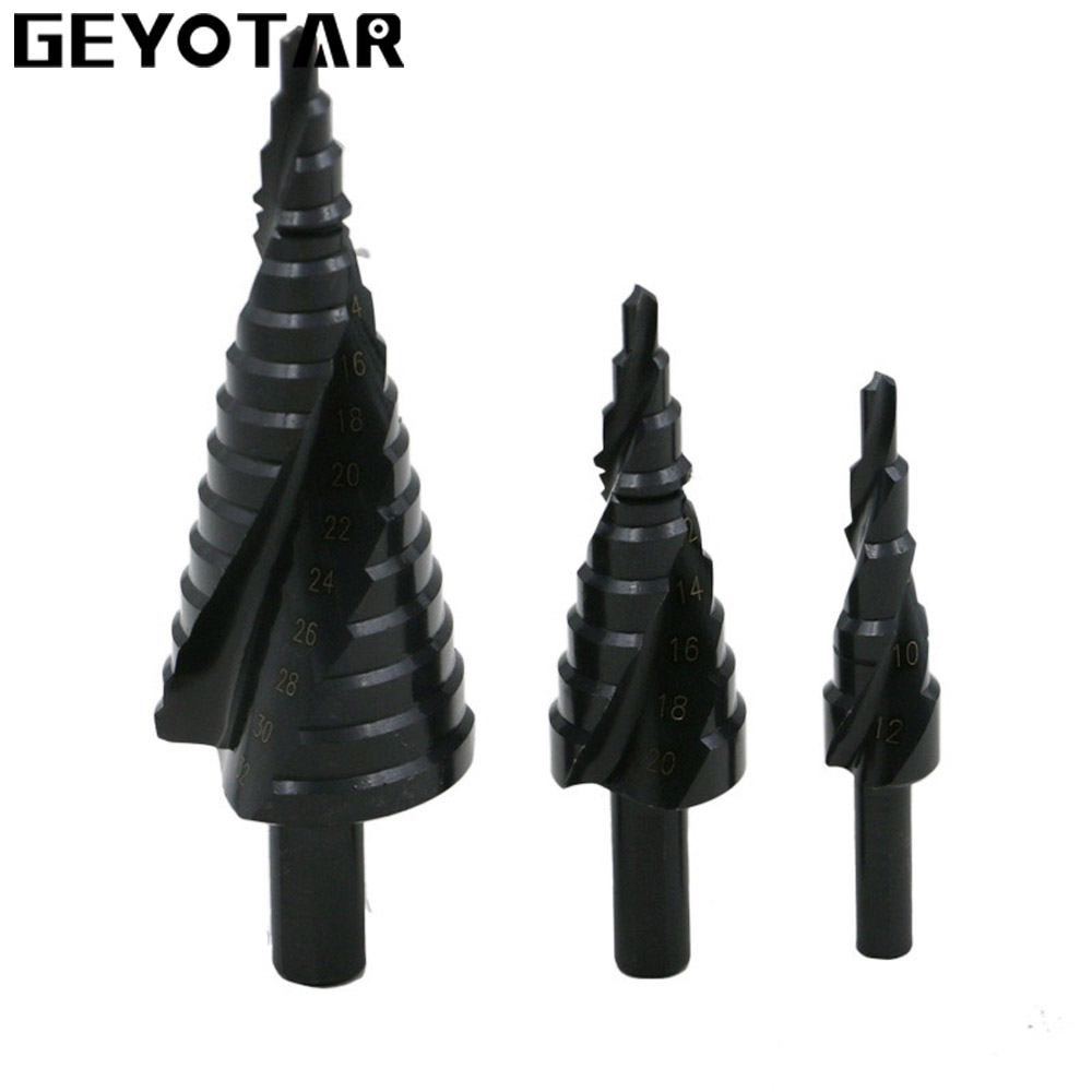 цена на 4-32MM 3PCS HSS cobalt step Drills with Nitrogen High Speed Steel Spiral for Metal Cone Drill Bit Set Triangle Shank Hole Cutter