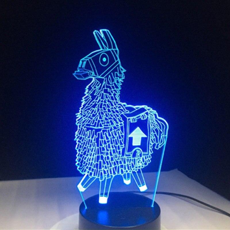 3D Cartoon Animal Llama Night Light 7 Colors LED Desk Lamp Home Room Decor Gift QJS Shop