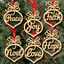 6pcs Fashion Several Words Wooden Laser Hollow Hanging Ornaments For Christmas Tree Home Out Door Party Decorative Accessories