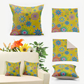 IKathoME Mid Century Modern Yellow Floral Decorative Pillow Covers 45x45cm,Flower Power Pillow Case Retro Turquoise Cushions 069