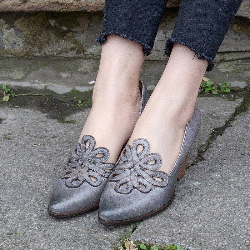女性の革は 7 センチメートルハイヒール Emboridery 春靴手作り本革の女性は怠惰な靴 2019 ブランド Tyawkiho  グループ上の 靴 からの レディースパンプス の中 3
