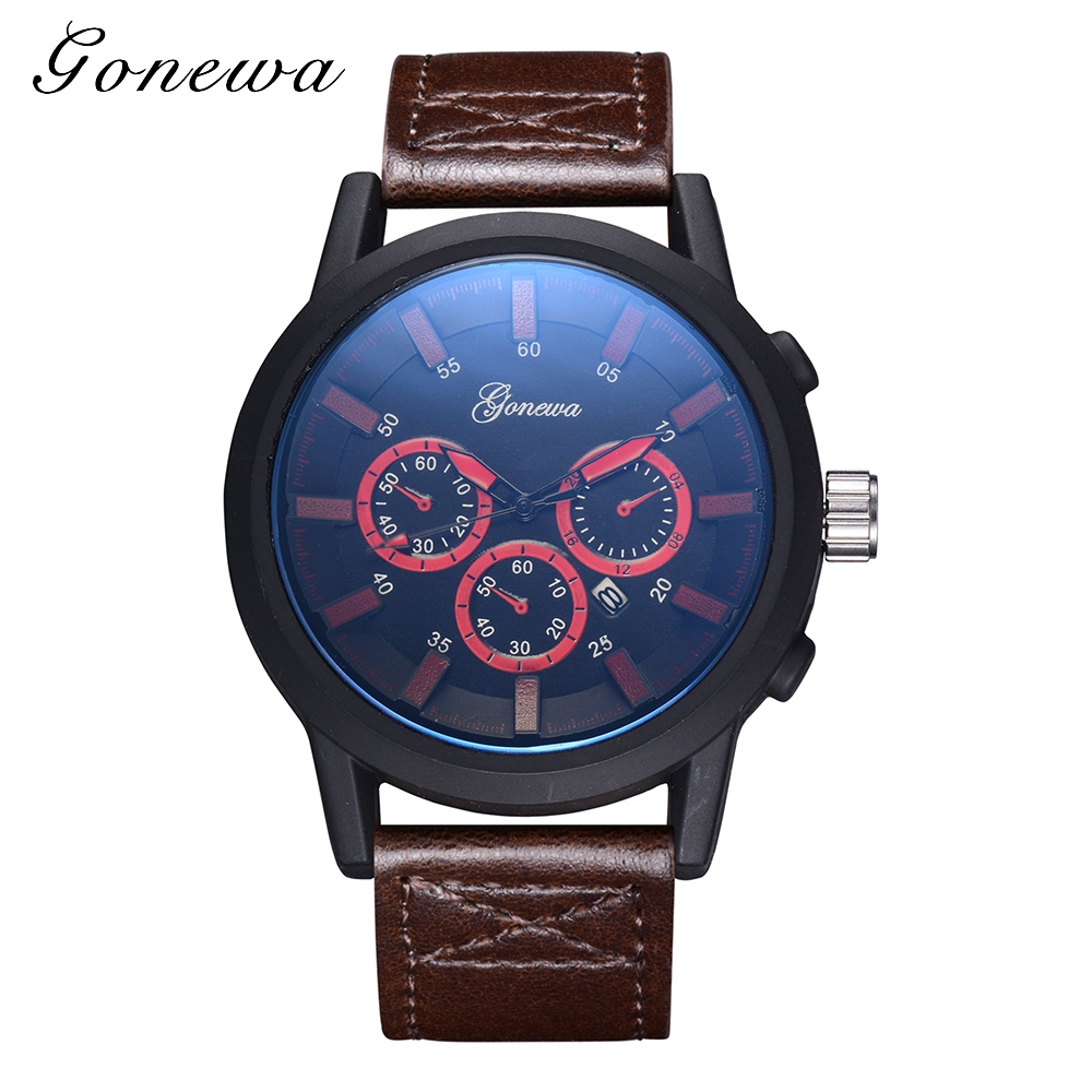 Gonewa Brand Mens Fashion Famous Watches Top Luxury Leather Wristwatch Quartz Male Sport Waterproof Military Watch Watch GON031 6pcs ink cartridge t2771 t2772 t2773 t2774 t2775 t2776 compatible for epson expression photo xp 750 760 850 860 950