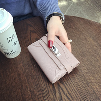 LYDZTION 2017 New European Short Crossed Sliver Buckle Lock Purse Women Cover Wallet Female Mini Hollow