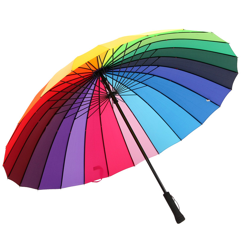 da47b380038e0 24K Rib Color Rainbow Fashion Long Handle Umbrella Straight Anti-Uv Sun/Rain  Stick