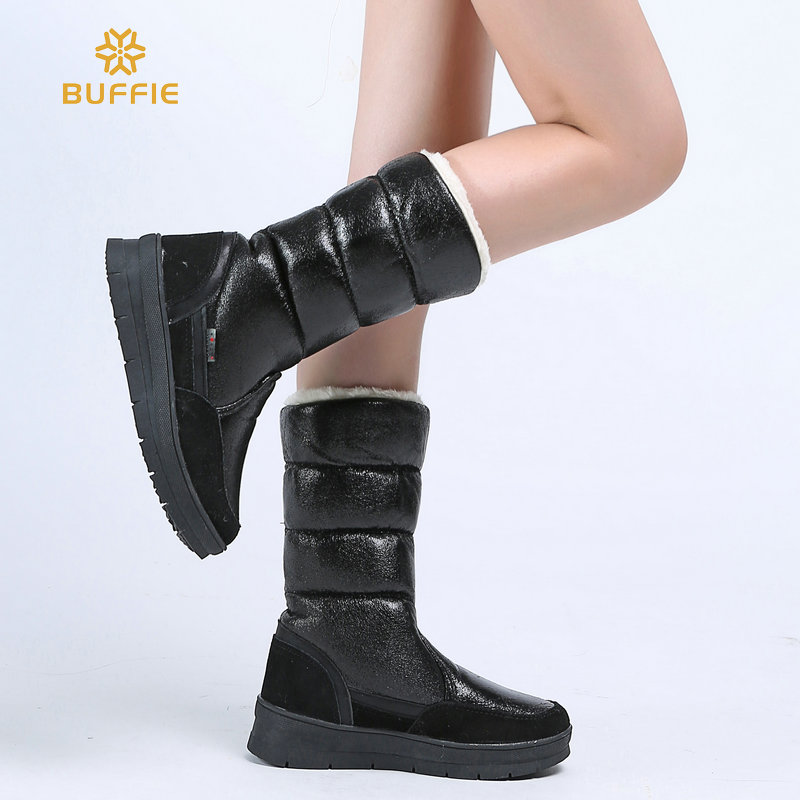 Black High female shoes Winter Warm Boots Woman Snow Boots top quality 2018 new styles of lady shoe Plus big Size fast shipping 2017 female warm snow boots large size 41 cotton winter shoe for woman soft comfortable outdoor footwear high quality