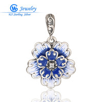 Silver Flower Enameled Jewelry 925 Silver Pendant Fit Famous Brand Charm Necklace For Women Gw Fashion Jewelry PETY024H50