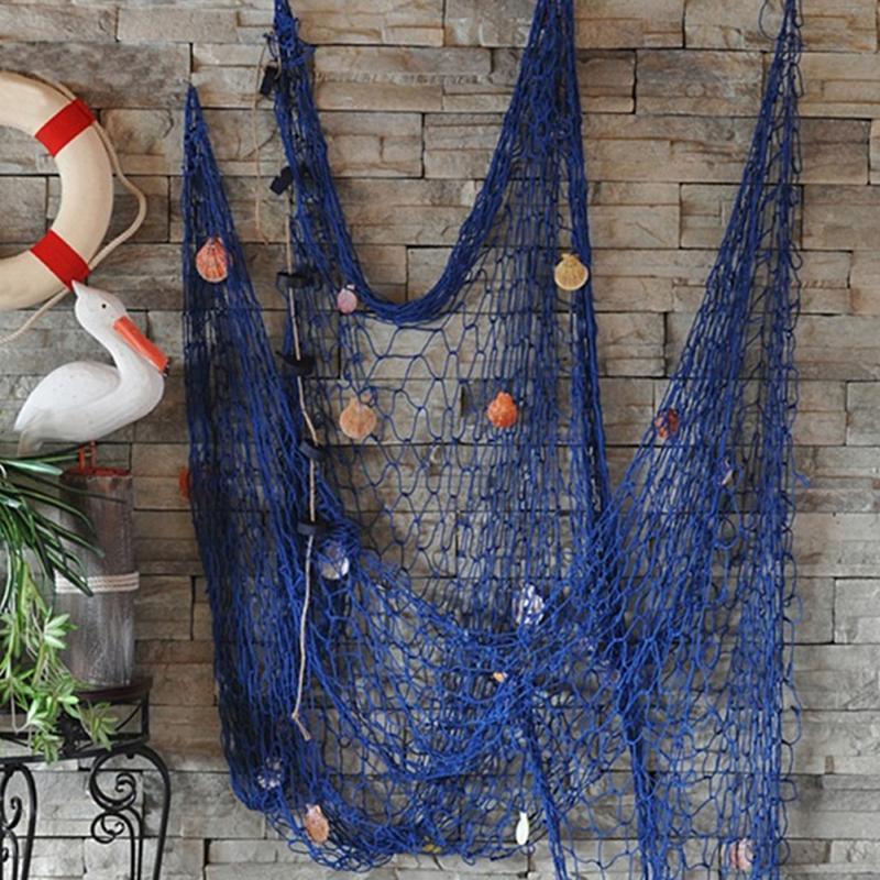 Parte da Cena da Praia Rede de Pesca Redes de Pesca Fio de Algodão 1 2 m Estilo Mediterrâneo Decorativa Artesanal Azul Bar Decoração Decoração