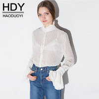 HDY White Chiffon Blouse Summer 2017 New Arrivals Women Sexy Lace Flared Sleeve Stand Collar Blouses
