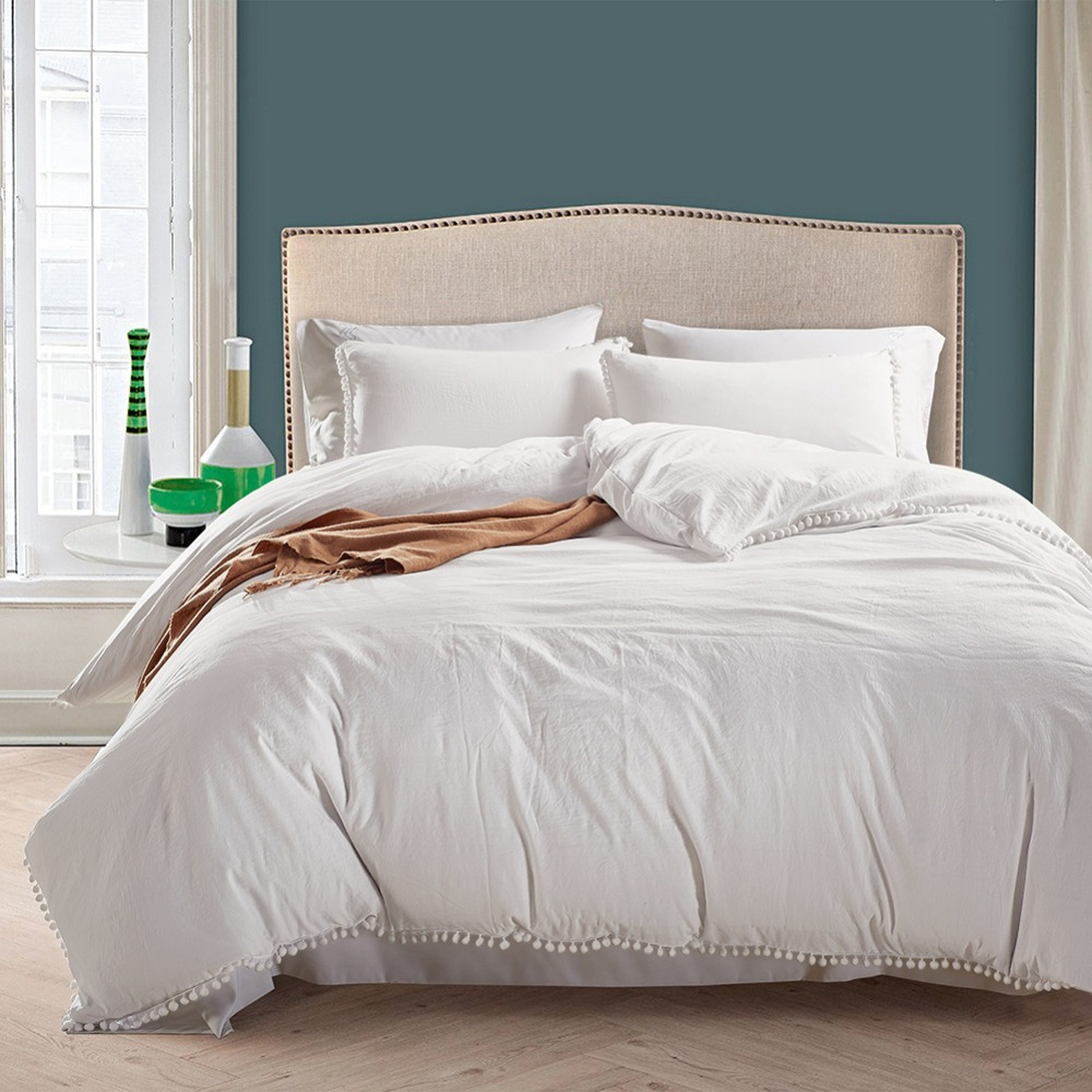 Fashion Brief Water Washed Cotton White Colour Duvet Quilt Cover Pillowcases Bedding set-in Duvet Cover from Home & Garden    1