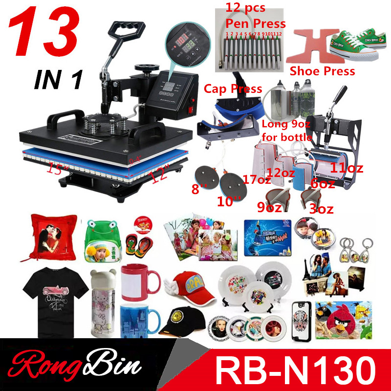 Double Display 13 In 1 Heat pen Press Machine Sublimation Printer shoe Transfer Machine Heat Press