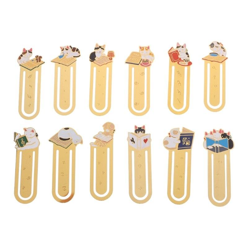 1pc Creative Bookmark Kawaii Cartoon Cat Metal Bookmark School Accessories Office Supplies Student Gifts