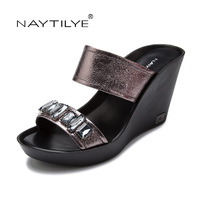 Wedges Summer Sandals 2017 PU Leather Shoes Woman Comfortable Trendy Color 36 41 Free Shipping NAYTILYE