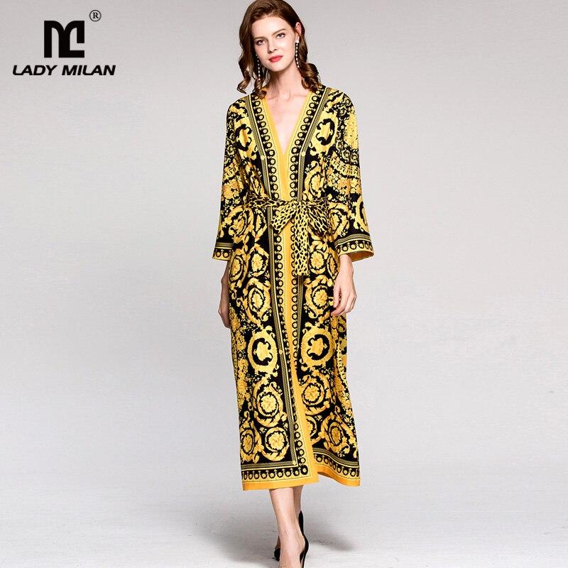 New Arrival Womens Sexy V Neck Long Sleeves Vintage Printed Floral Sash Belt Loose Design Fashion Pajamas Dresses