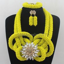 Delicate Yellow  Nigerian Party Beads Necklace Set African Flowers Wedding Bridal Jewelry Set Free Shipping HD7510