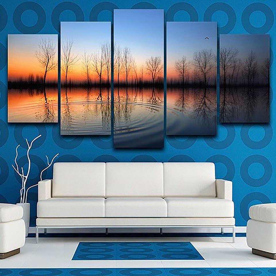 Do salonu nowoczesne HD drukowane zdjęcia 5 sztuka/szt zachód słońca jezioro drzewo ścienne ozdoby do dekoracji wnętrz ramy obraz na płótnie plakat