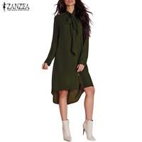 ZANZEA Fashion Blusas Femininas 2016 Women Shirt Dress Bow Long Sleeve Casual Amsymetircal Chiffon Blouse Tops