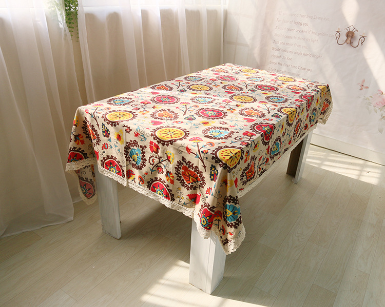National wind explosion models cotton linen tablecloths Sun flower table cloth tablecloth Table Covers for Wedding Party Home 5