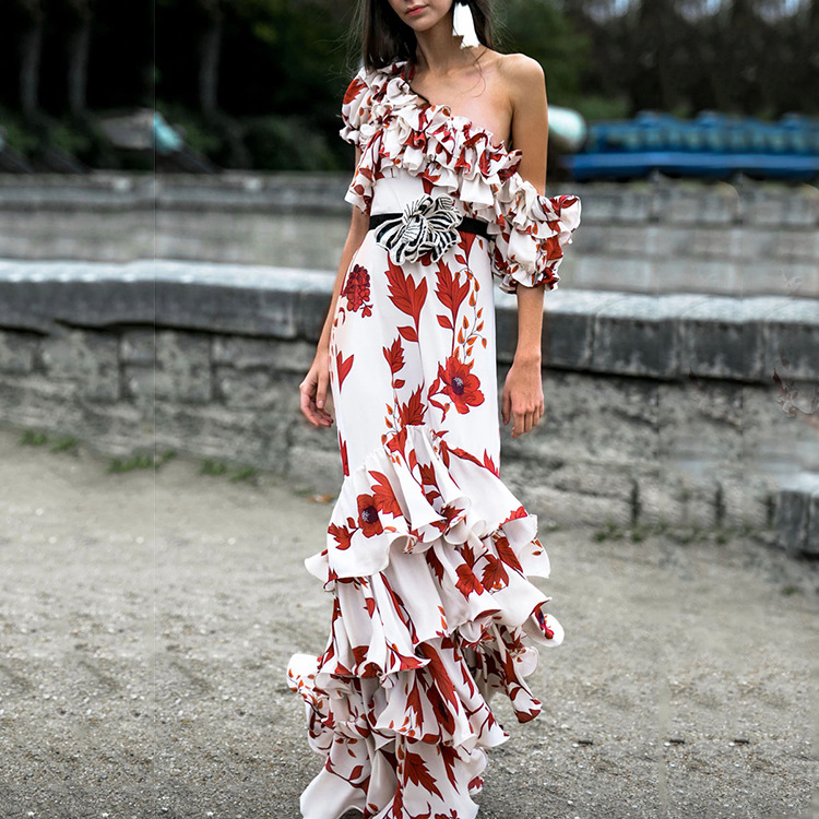 Sexy One Shoulder Bohemian Maxi Dresses for Women Floral Print Summer Beach Dresses Ruffles Floor Length Vestido 3XL