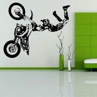 Бесплатная доставка трюк мотоцикл x игры MX мотокроссу Байк стены Книги по искусству комнаты Стикеры наклейка росписи декора