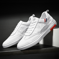 SUROM Mens Shoes Casual Classic White Mesh Breathable Man Shoes Leather Genuine Black Sneakers Men Lightweight Zapatillas Hombre