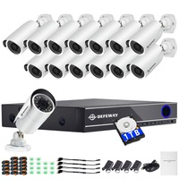 DEFEWAY 1080P Video Surveillance System 16CH CCTV Security Kit 14PCS 1080P Security Camera Super Night Vision