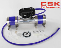 Black Aluminum Billet Anodized Type 4 SQV Blow Off Valve BOV +3 or 76mm Flange Pipe +clamps+ Blue silicone & 4mm vaccum hose