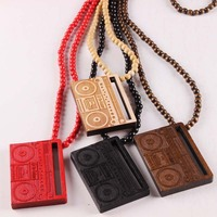 Hand Shank Old Radio Necklace GOOD WOOD Hip Hop Beads Pendant Wooden Necklaces Fashion Jewelry Gift jasw117