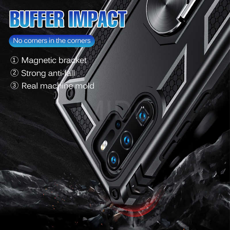 Luxury Armor Shockproof Case On The For Huawei P30 Pro P Smart 2019 Soft Bumper Case For Huawei Honor 10 P30 Lite Ring Case