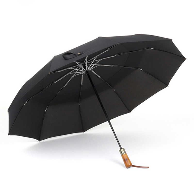 e85f08d60520 PARACHASE Big Umbrella Men Business Style 115cm Automatic Umbrella Rain  Double Layer 10K Windproof Large Golf Umbrellas Wooden