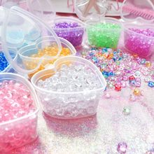 Crystal Flat Fishbowl Beads Slime Accessories Colorful Rubber Balls for Slime Filler DIY Slime Supplies Decor with Heart-Box(China)