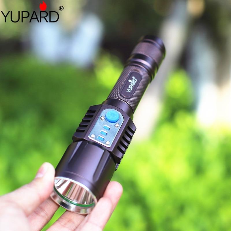 YUPARD XM-L2 T6 led camping Flashlight Torch lamp USB Intelligent flashlight mobile power bank+2* 2200mAh 18650 Battery+Charger цена