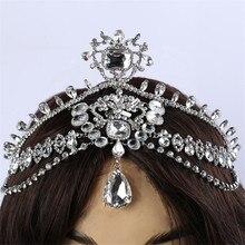 Fashion Sparkly Crystal Bridal Head Chain indian hair jewelry tikka women Wedding Tiara Bride forehead Decoration Accessories