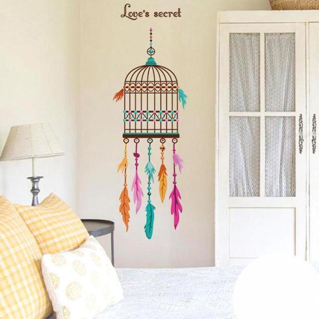 Feder Vogelkäfig Wandaufkleber DIY Entfernbare Vinyl Wandtattoos Für Kinder  Zimmertür Fenster Aufkleber Hause Schlafzimmer Decor Poster