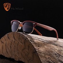 HU WOOD Fashion Oval Semi-Rimless Sunglasses For Unisex Pola