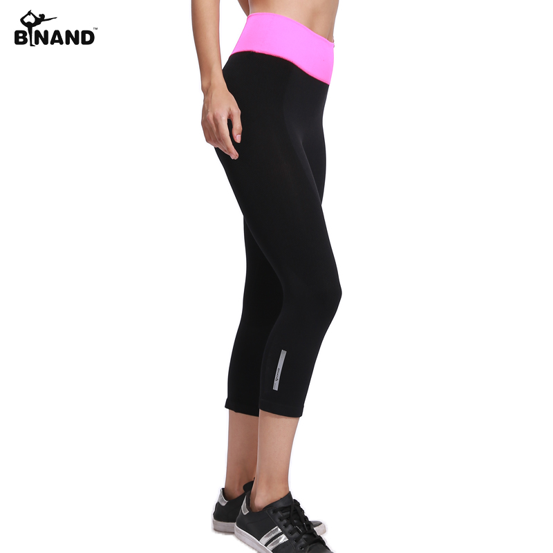 BINAND Women Elastic Yoga Sports Pants Running Exercise Tight Fitness Gym Quick Dry Training Pants Workout Breathable Capris