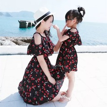 Summer Matching Mother Daughter Clothes Print Floral Knee-length Dress Dresses Girls Family Look
