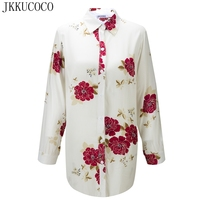 JKKUCOCO Chinese Style Nice Flowers Print Women Shirt Single Breasted Casual Shirt Thin Material Cotton Shirts