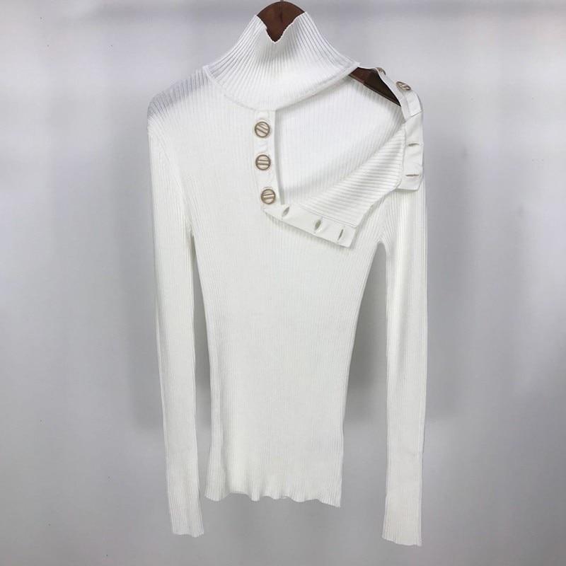 Grande Taille Sweaterjumper Vêtements Longues Femmes Deux Manches Bouton Épaule Roulé Usure Top À Col Tricoté Chandail De Off pA1wwEx4
