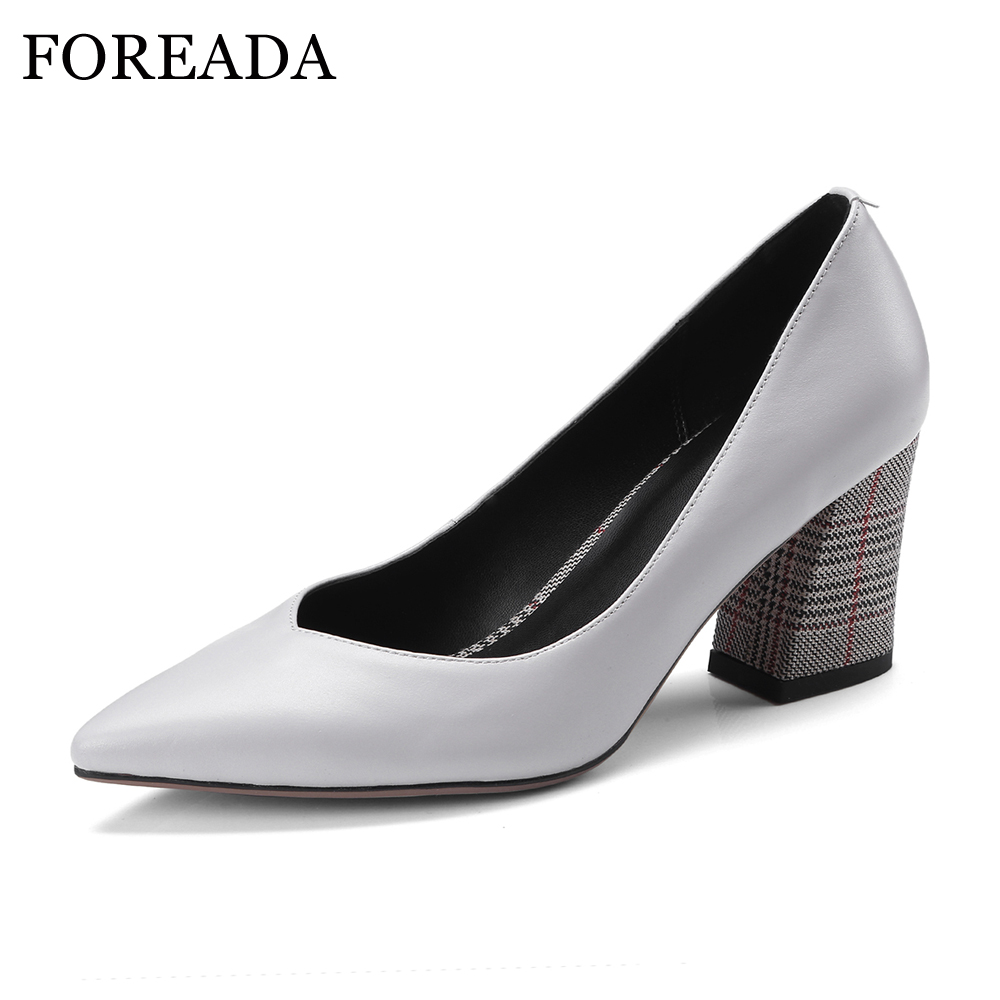 FOREADA High Heels Genuine Leather Shoes Women Thick Plaid High Heels Pumps Office Ladies Shoes Spring 2018 Pointed Toe Shoes