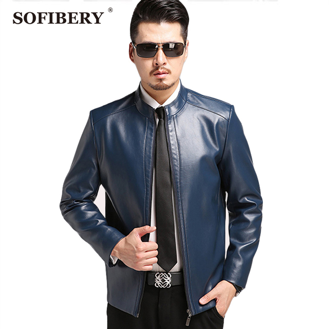 SOFIBERY Men's Leather Suede winter men's leather jacket collar zipper jacket Winter snow coats casual warm coat jacket 1603