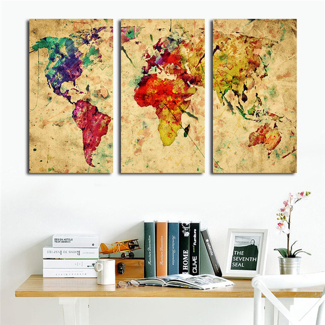 Aliexpress.com : Buy Vintage World Watercolor Map 3 Pieces Canvas ...