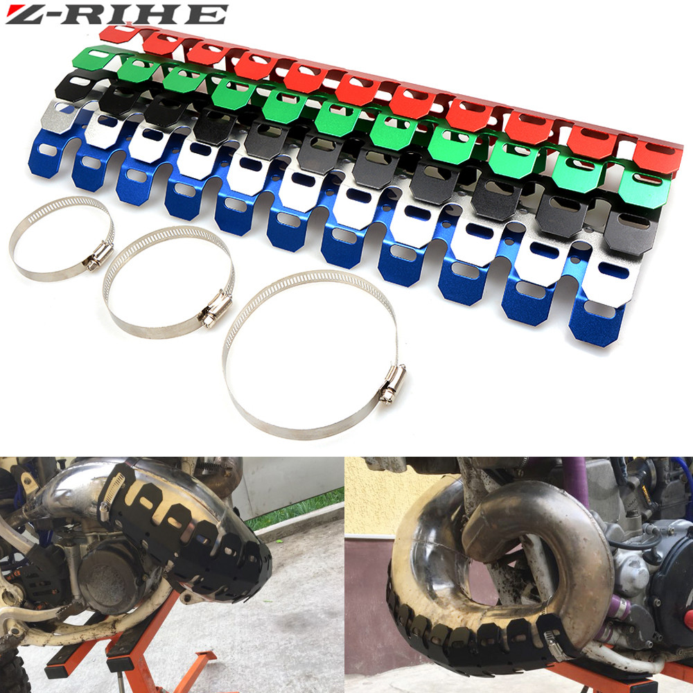 49CM Motorcycle Exhaust Muffler Pipe Leg Protector Heat Shield Cover For SUZUKI RM RMZ RMX DR DRZ DJEBEL 85 125 250 400 XC SB R