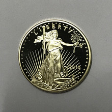 1 Pcs The non magnetic Freedom 2016 coin liberty 24K real gold plated badge USA eagle 32.6 mm souvenir