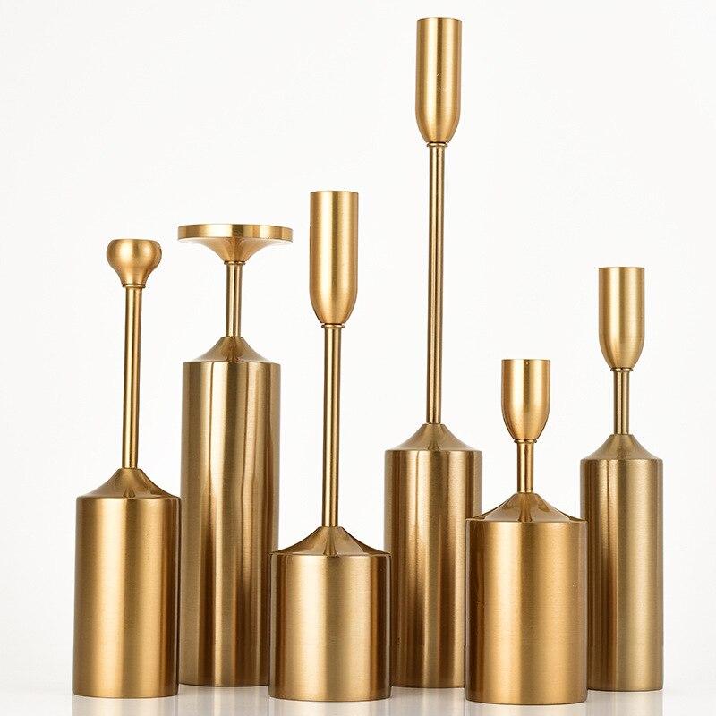 Chandelier en métal placage artisanat bougeoirs 6 pcs/ensemble