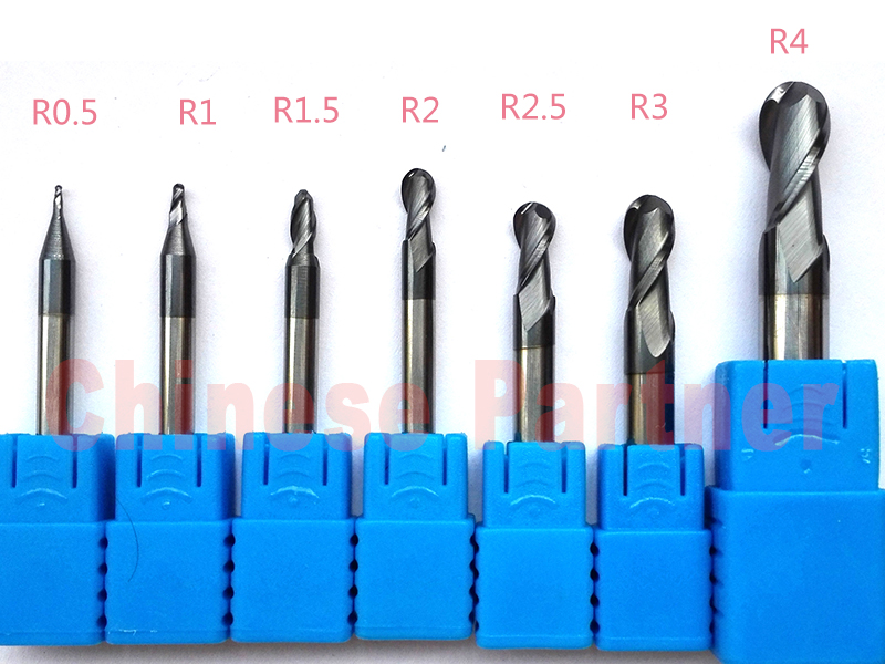 7pcs/lot  R0.5/R1/R1.5/R2/R2.5/R3/R4 hrc45 2 Flutes Ball nose end mill Spiral Bit Milling Tools CNC cutter Router bits r